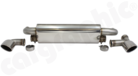 Sport Centre Silencer-- For Porsche 964 Carrera / RS / Cup<BR> - With integrated 2x 63,50mm Exhaust Flaps<br> - With dual LH/RH Tailpipe Outlets<BR> - Tailpipes slash cut following the rear valance<BR>